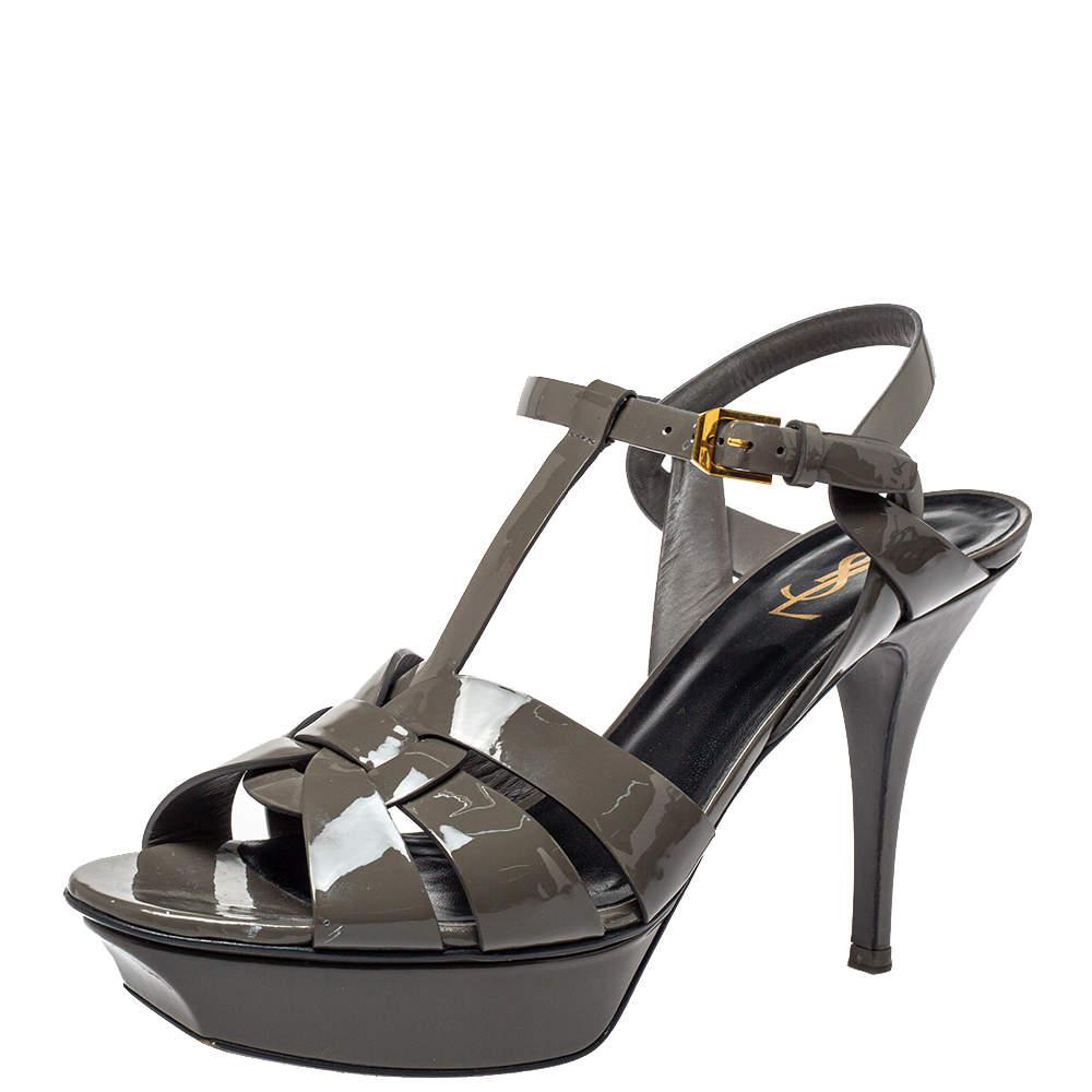 Saint Laurent Dark Grey Patent Leather Tribute Sandals Size 41