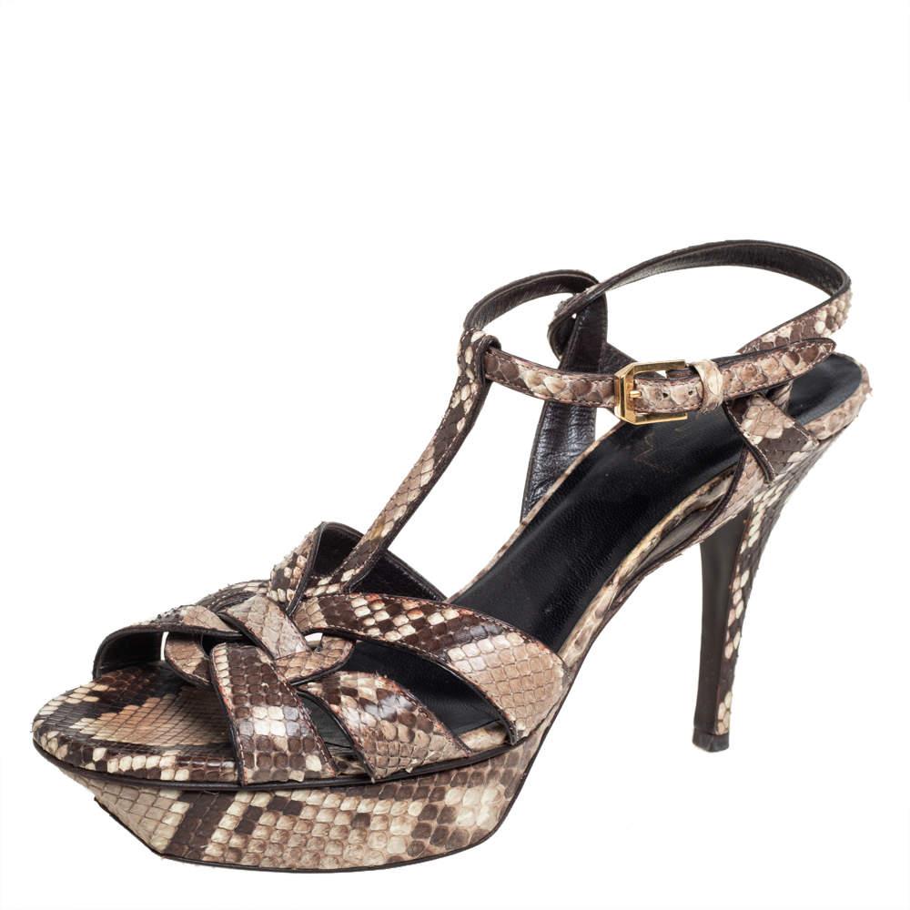 Saint Laurent Brown Python Leather Tribute Sandals Size 40