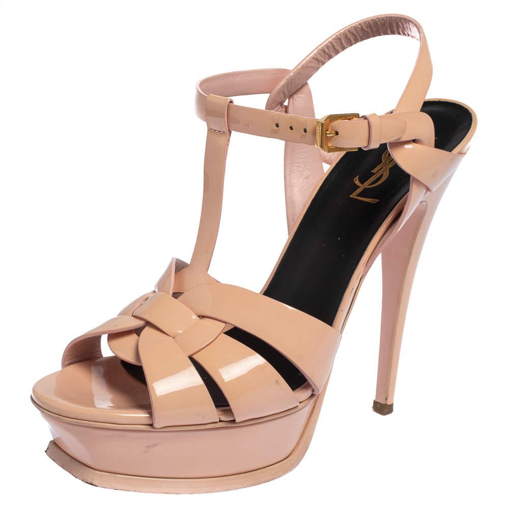 Saint Laurent Pink Patent Leather Tribute Sandals Size 39