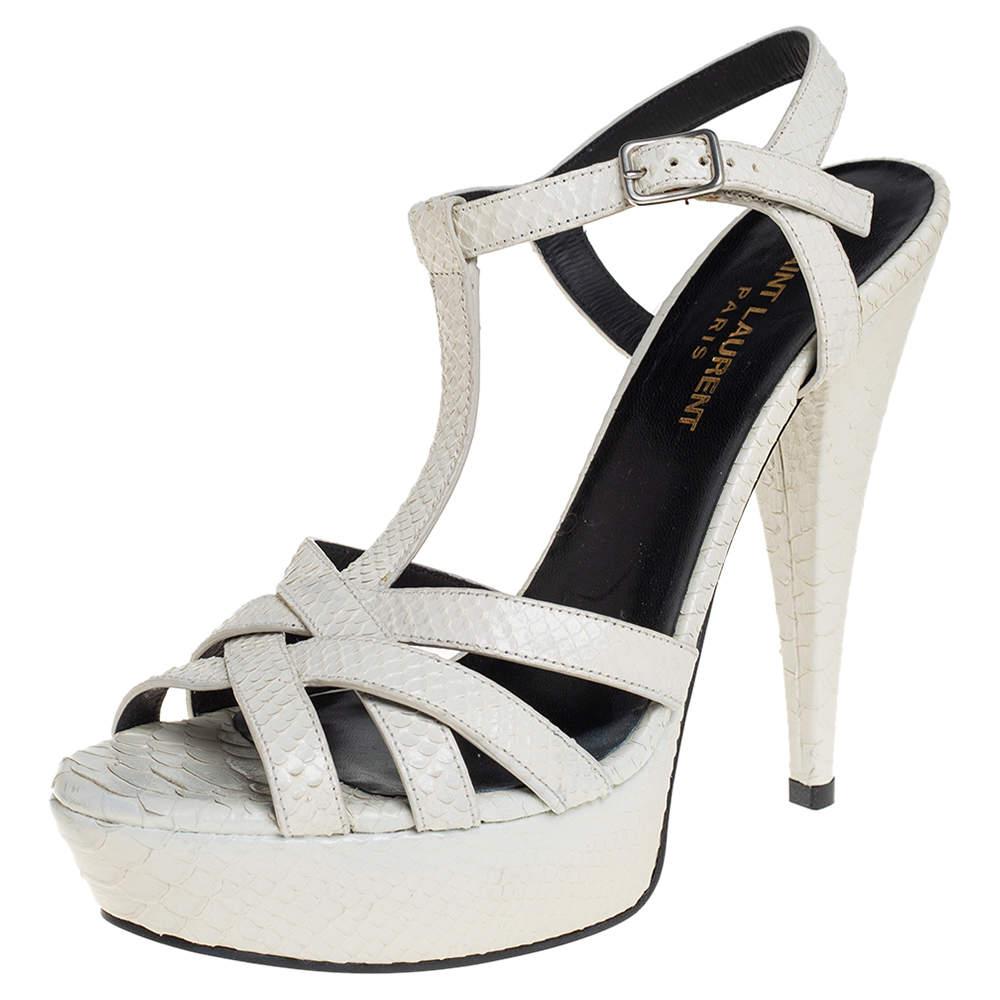 Saint Laurent White Embossed Python Leather Jodie Platform Ankle Strap Sandals Size 38