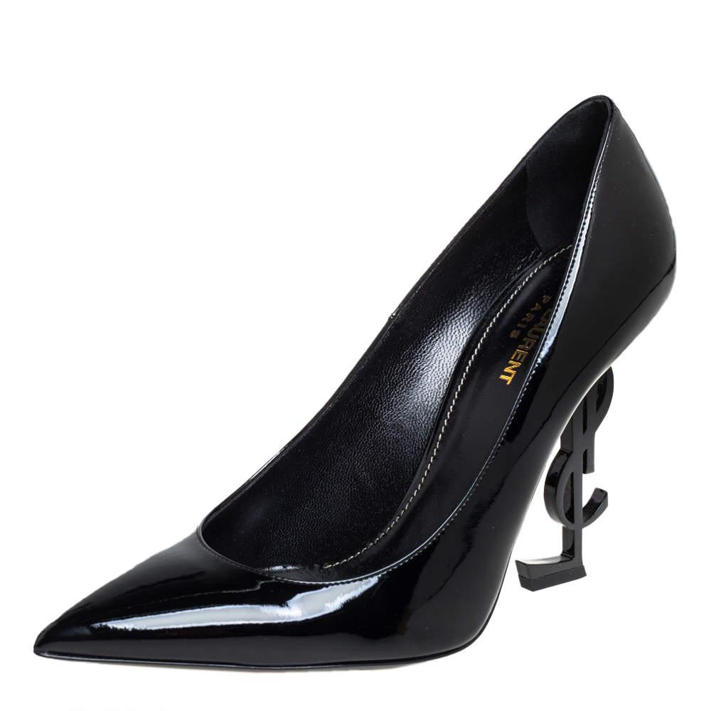 حذاء كعب عالى سان لوران أوبيوم جلد لامع أسود مقاس 40
