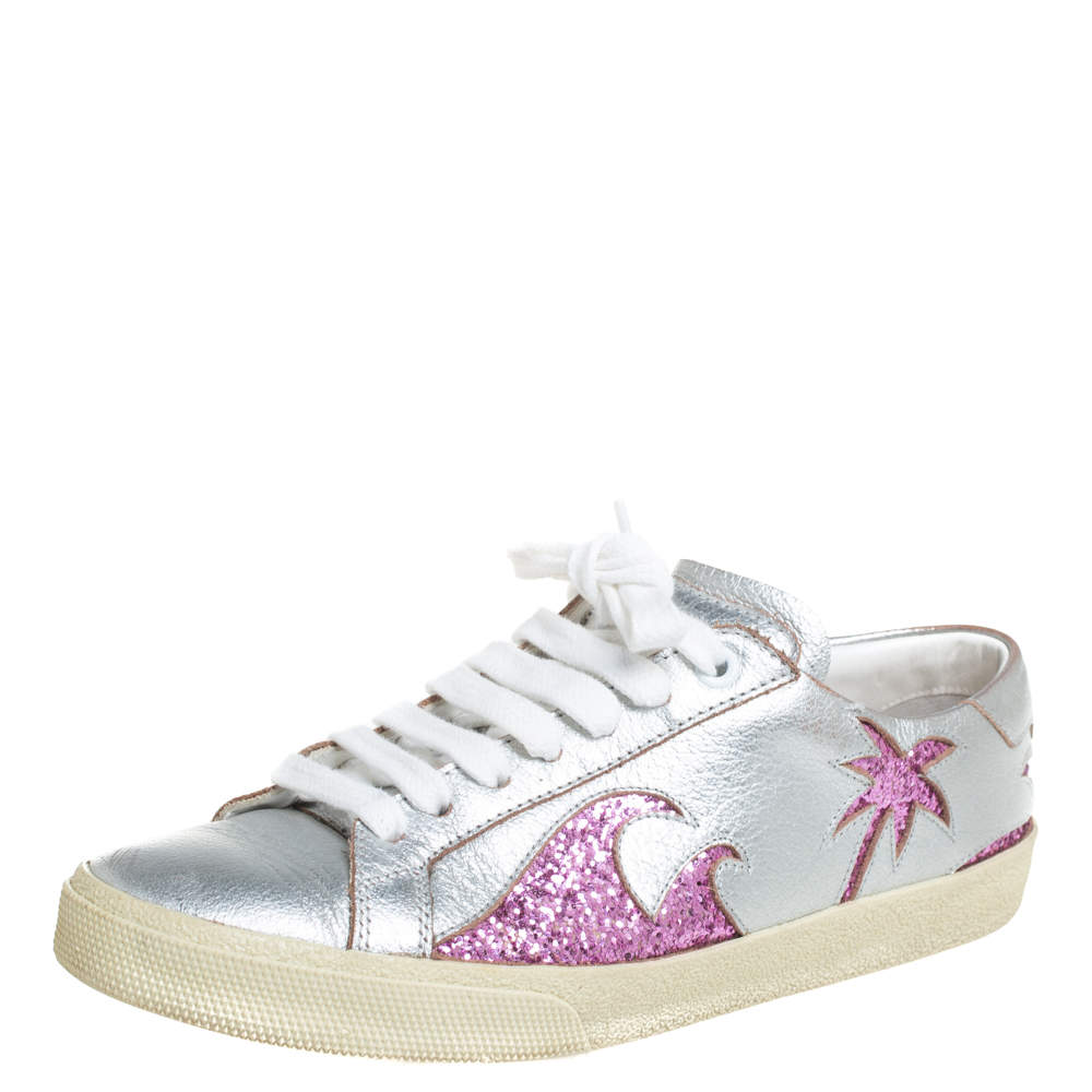 Saint Laurent Metallic Silver/Pink Leather And Glitter Court Sneakers Size 35.5