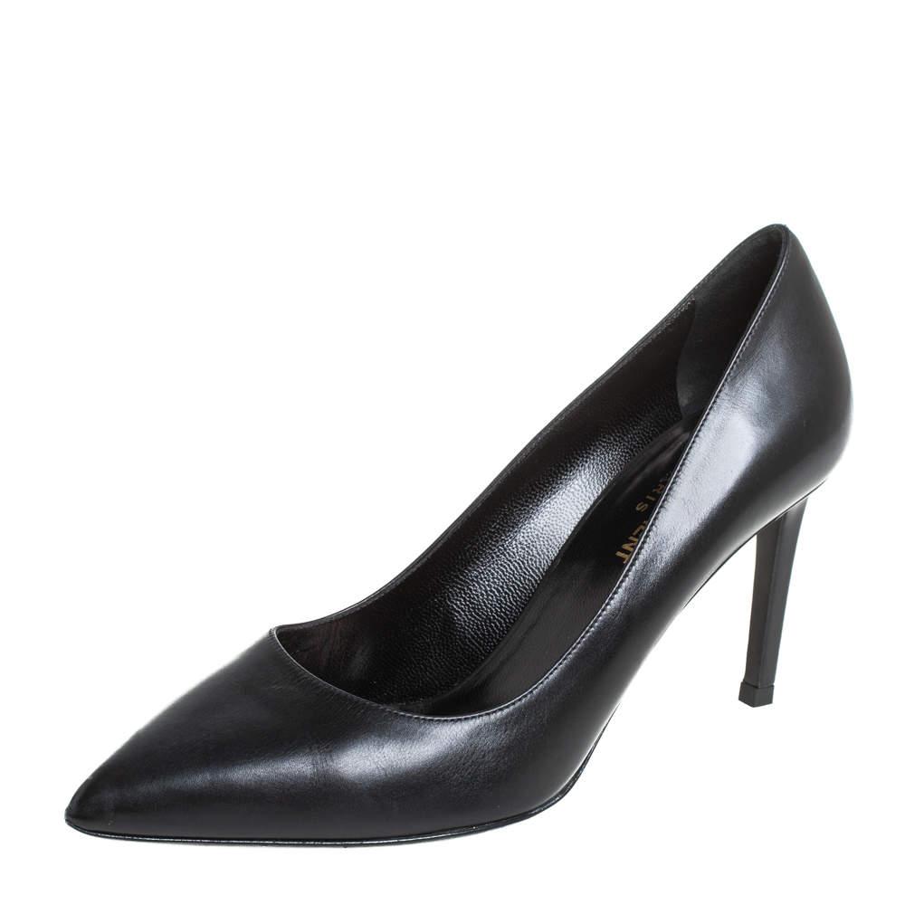 Saint Laurent Black Leather Zoe Pointed Toe Pumps Size 38
