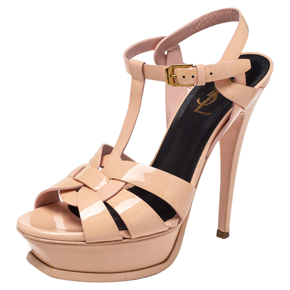 Saint Laurent Pink Patent Leather Tribute Sandals Size 37