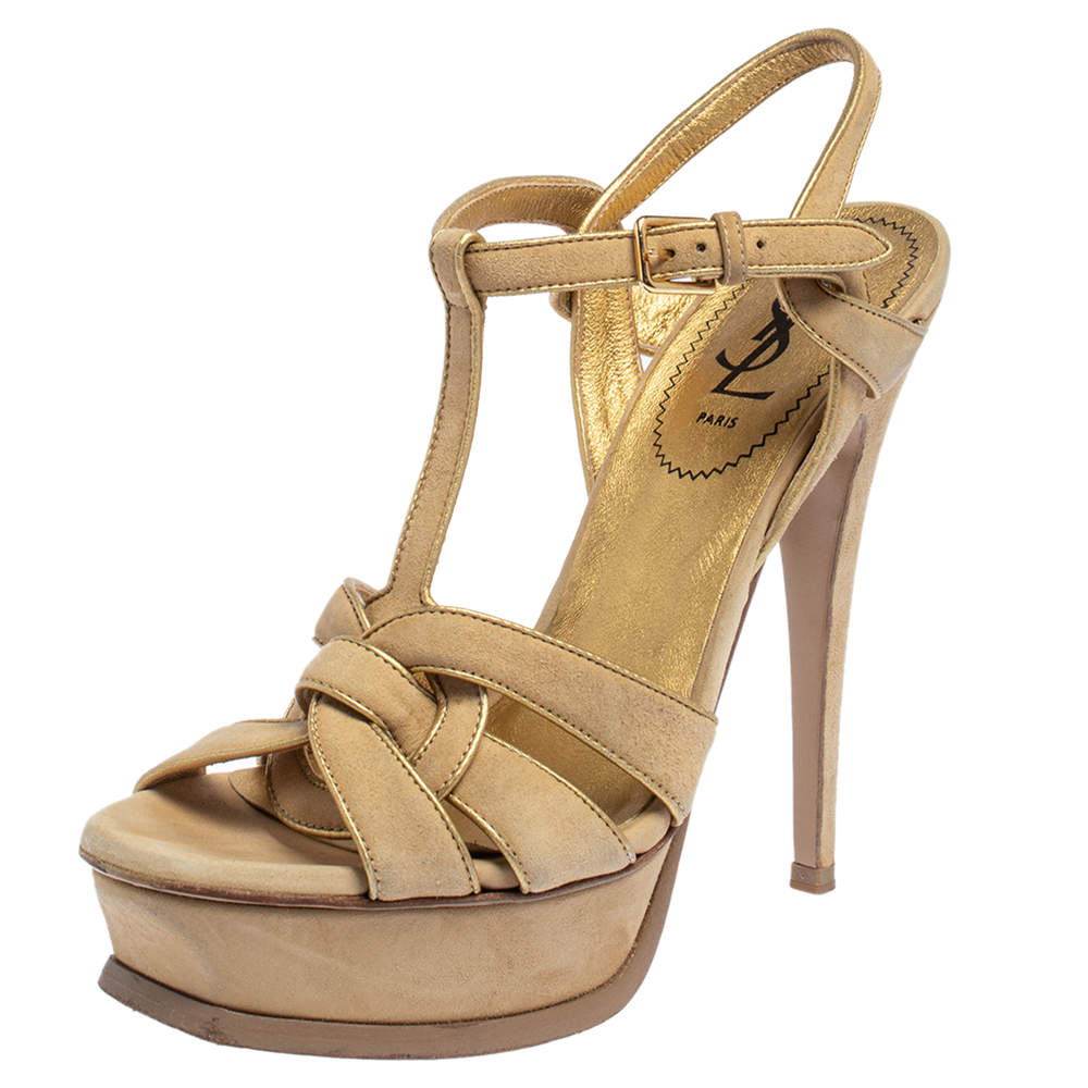 Saint Laurent Beige/Gold Suede Tribute Ankle Strap Sandals Size 38