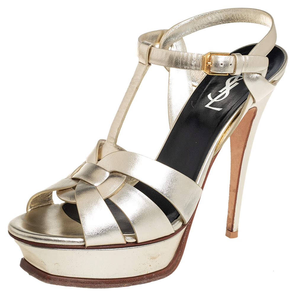 Saint Laurent Metallic Gold Leather Tribute Platform Ankle Strap Sandals Size 39.5