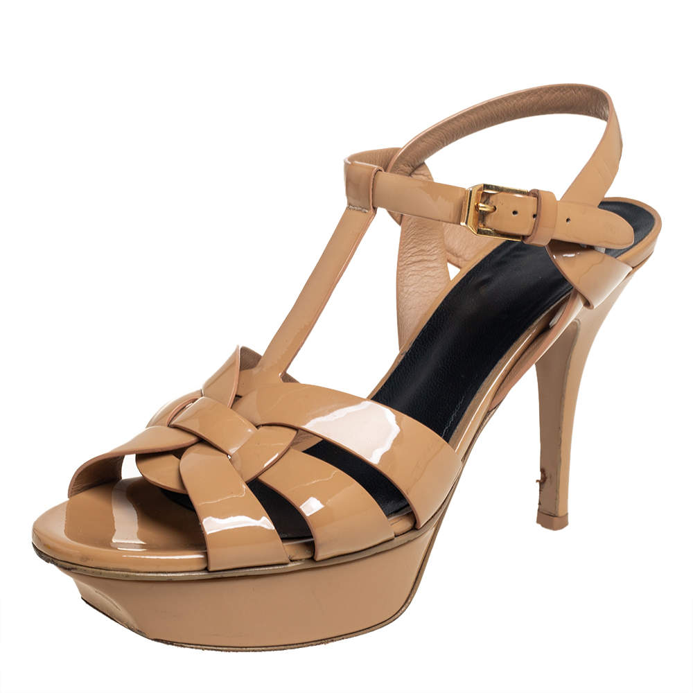 Saint Laurent Beige Patent Leather Tribute Platform Ankle Strap Sandals Size 36.5