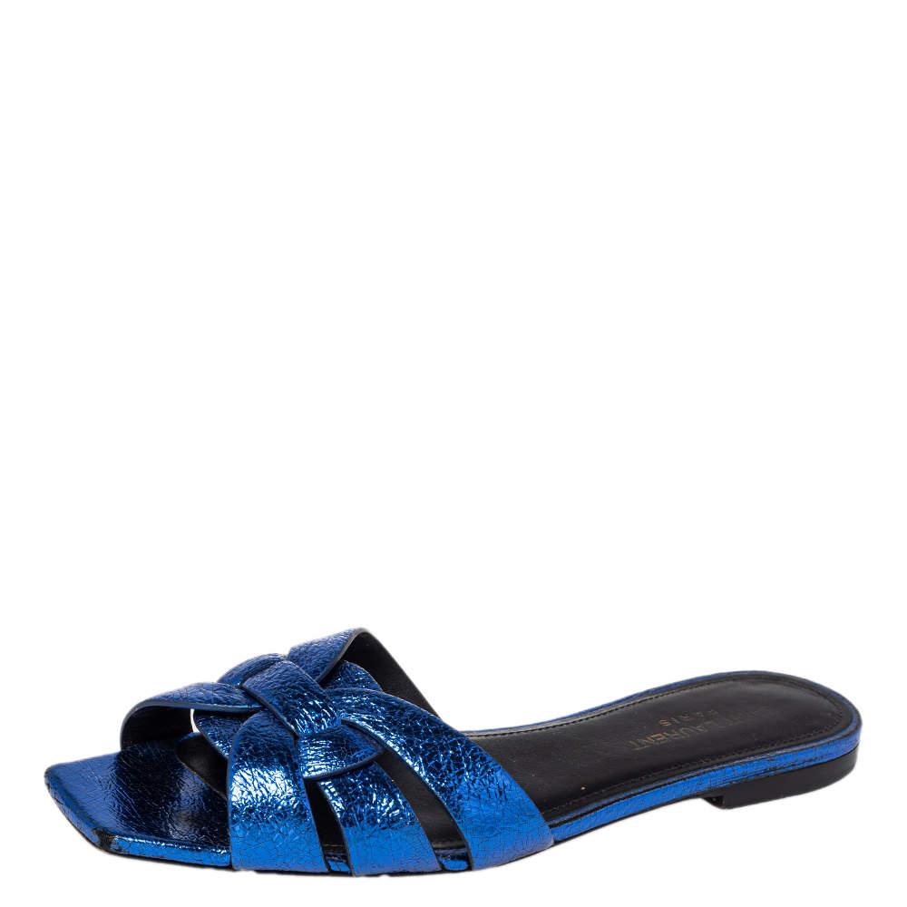 Saint Laurent Meatllic Blue Crinkled Leather Tribute Flat Slides Size 37.5