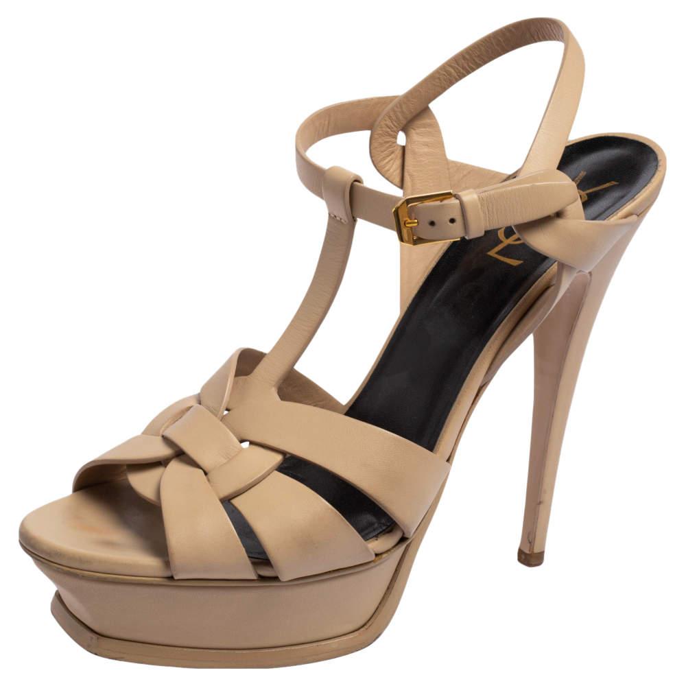 Saint Laurent Beige Leather Tribute Platform Sandals Size 40