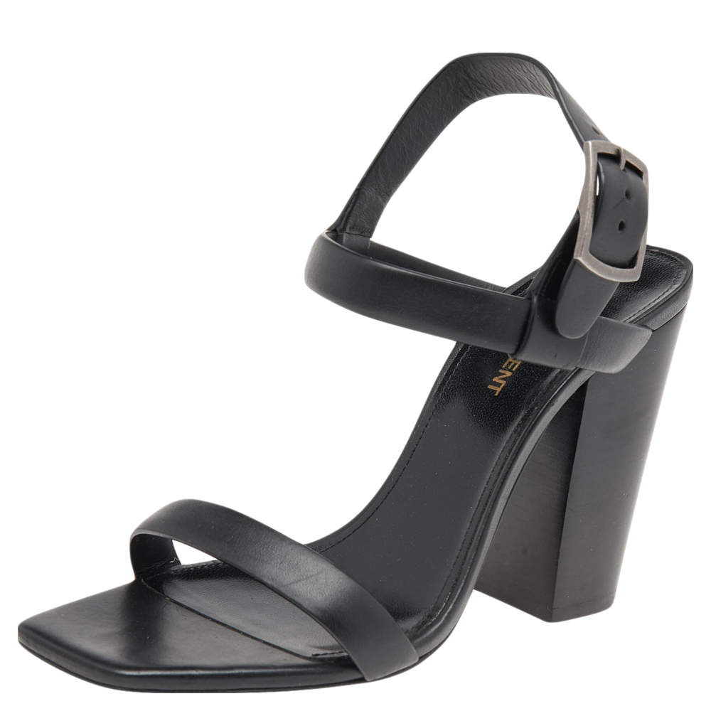 Saint Laurent Black Leather Ankle Strap Sandals Size 38