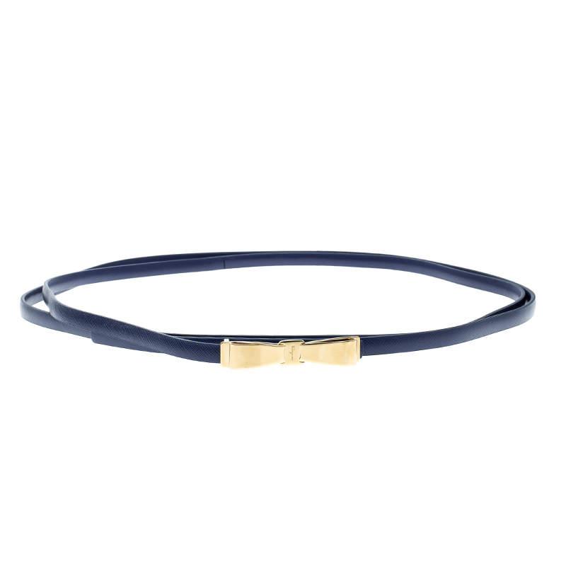 Salvatore Ferragamo Blue Leather Long Skinny Belt 95cm