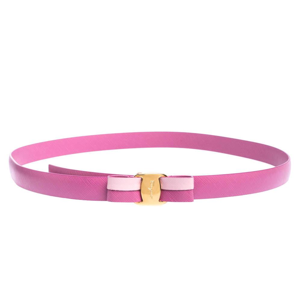 Salvatore Ferragamo Anemone Pink Leather Bow Belt 95CM