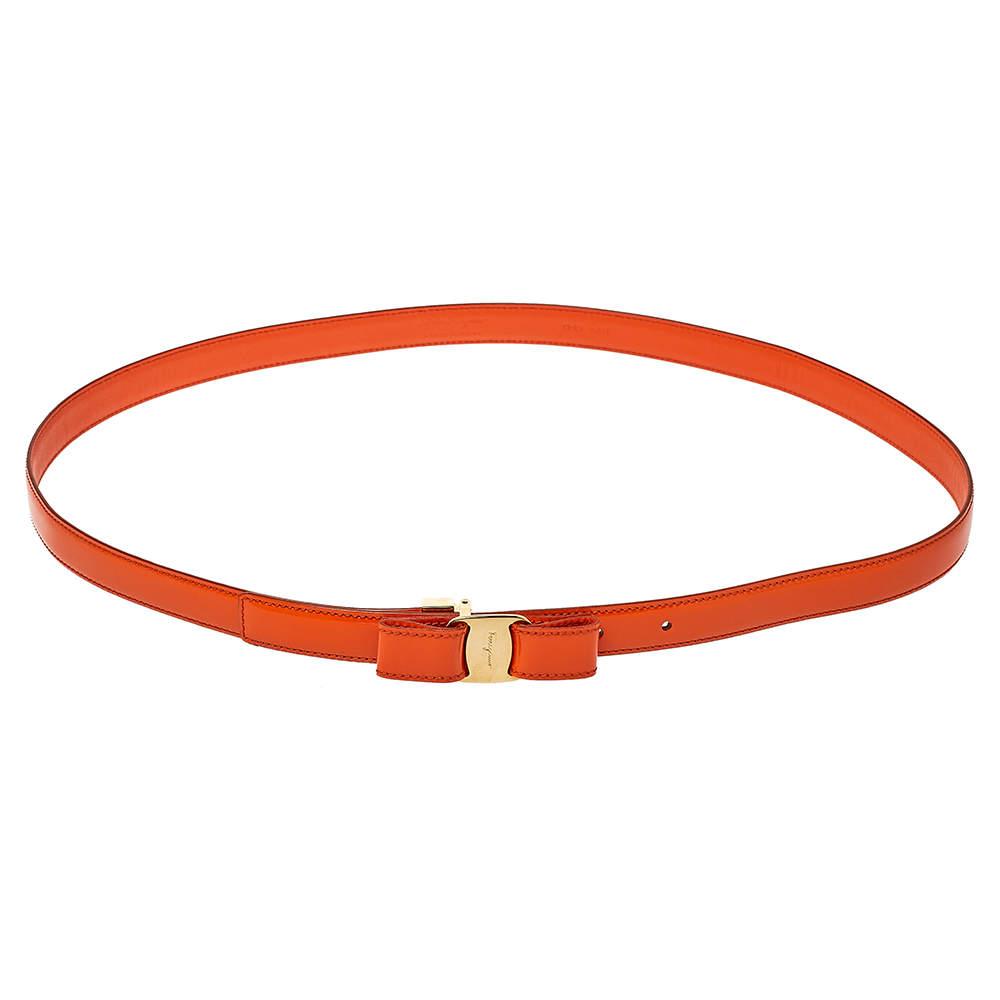 Salvatore Ferragamo Orange Patent Leather Vara Bow Slim Belt 100 CM