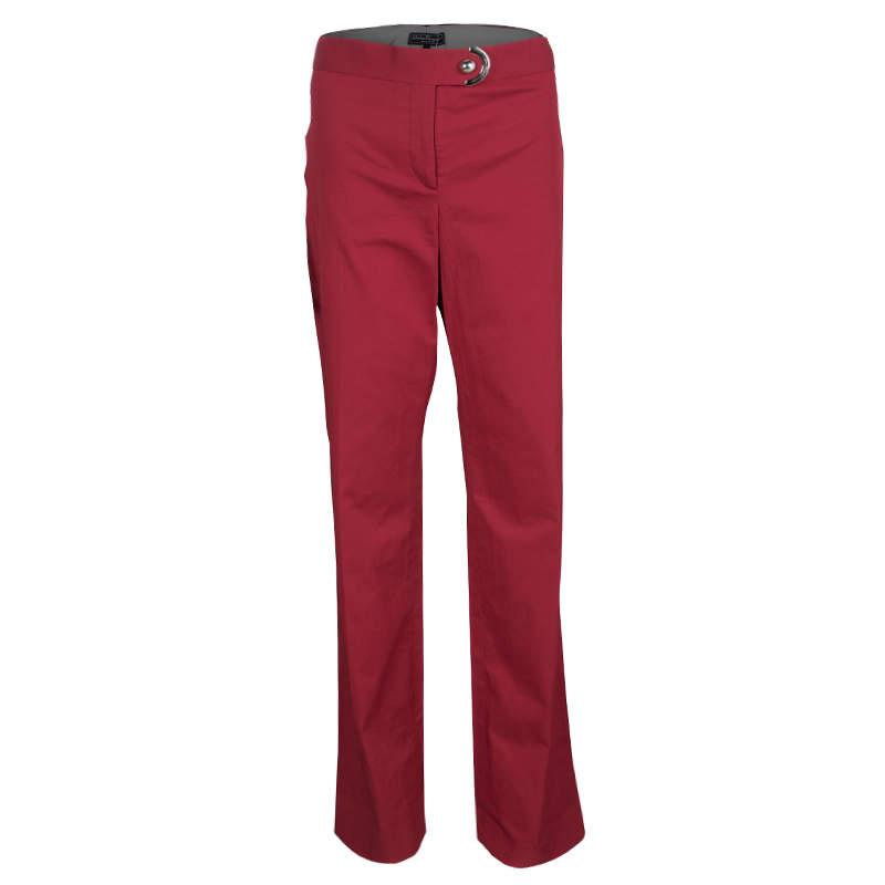 Salvatore Ferragamo Red Button Detail Straight Fit Pants L