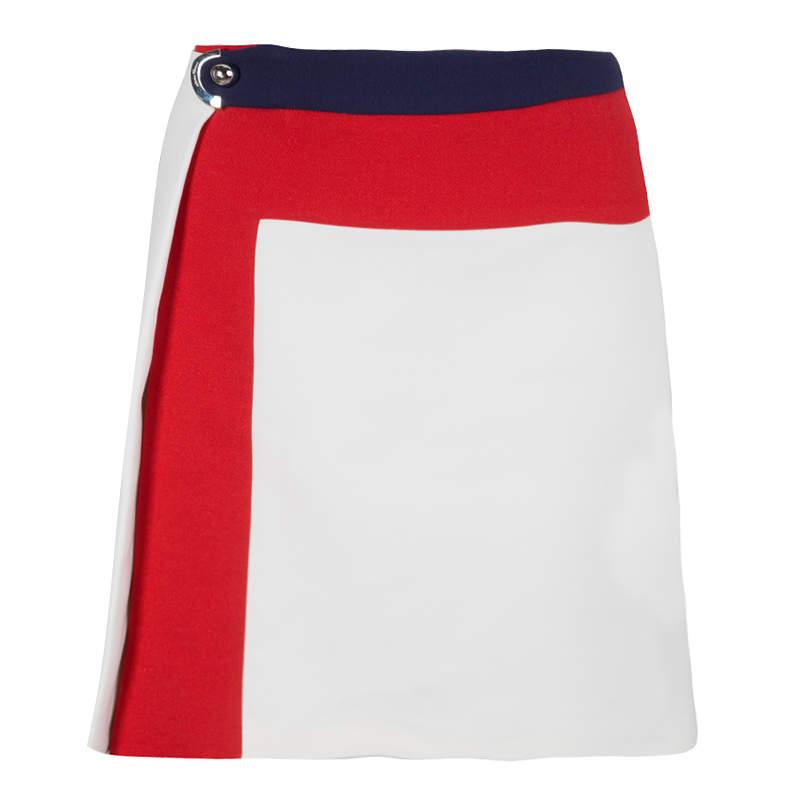 Salvatore Ferragamo Colorblock Buckle Detail Skirt M