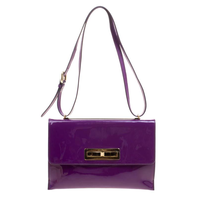 Salvatore Ferragamo Purple Patent Leather Shoulder Bag