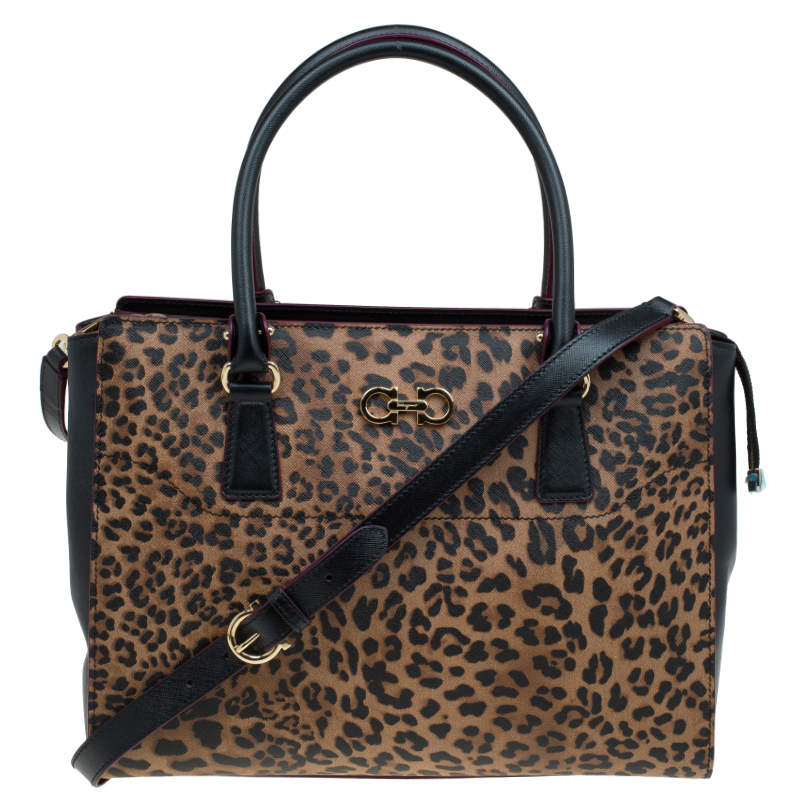 Salvatore Ferragamo Leopard Print Textured Leather Large Beky Tote