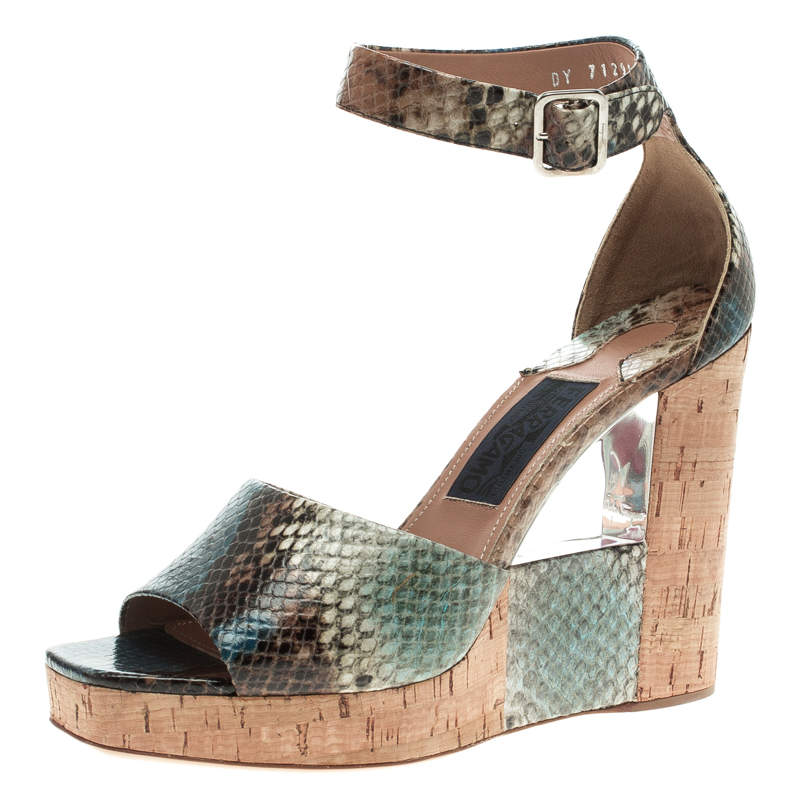 Salvatore Ferragamo Multicolor Snake Embossed Leather Wedge Sandals Size 38