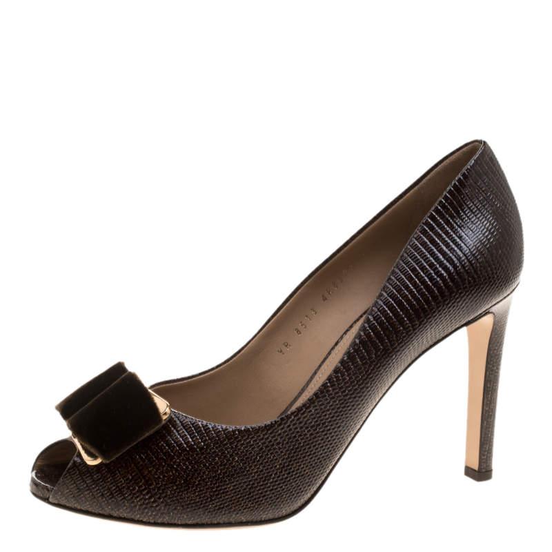 Salvatore Ferragamo Dark Brown Lizard Embossed Leather Peep Toe Pumps Size 41