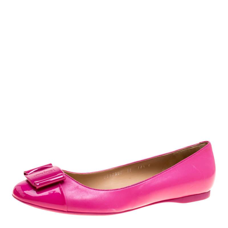 Salvatore Ferragamo Pink Leather Petrina Cap Toe Ballet Flats Size 41