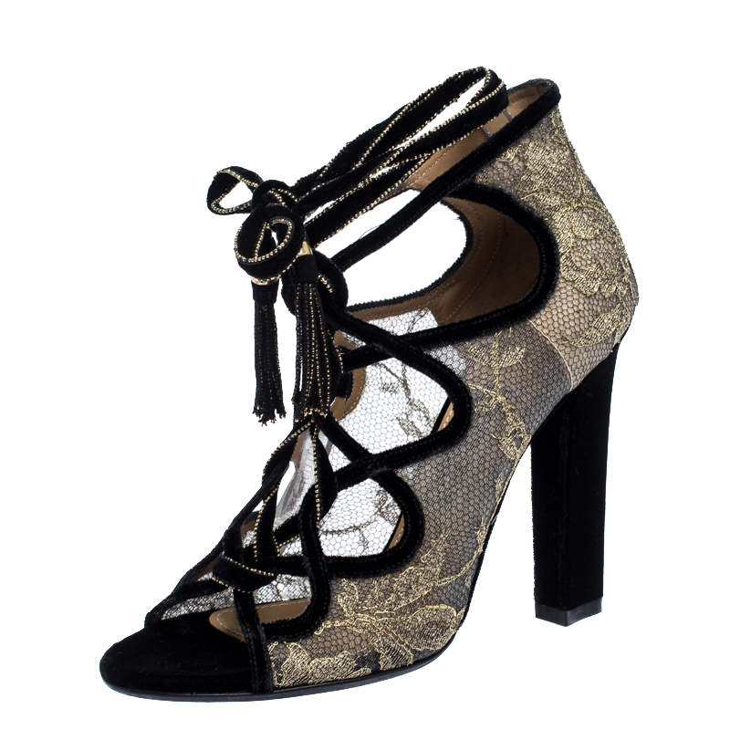 Salvatore Ferragamo Gold Lace And Black Velvet Tokara Ankle Wrap Sandals Size 37.5