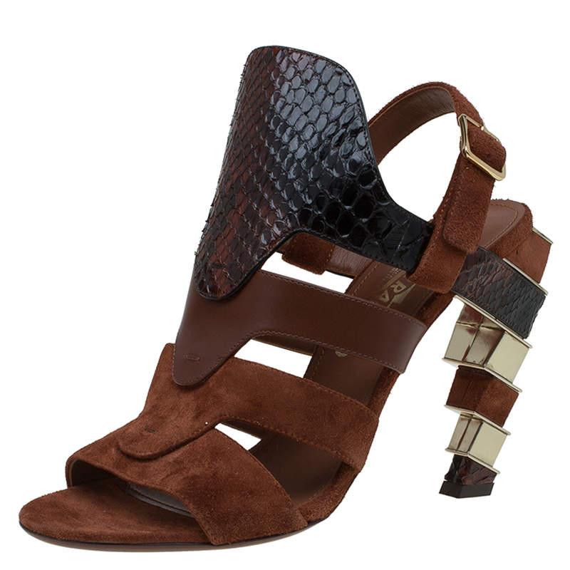 Salvatore Ferragamo Tricolor Suede and Python Laos Strappy Sandals Size 37.5