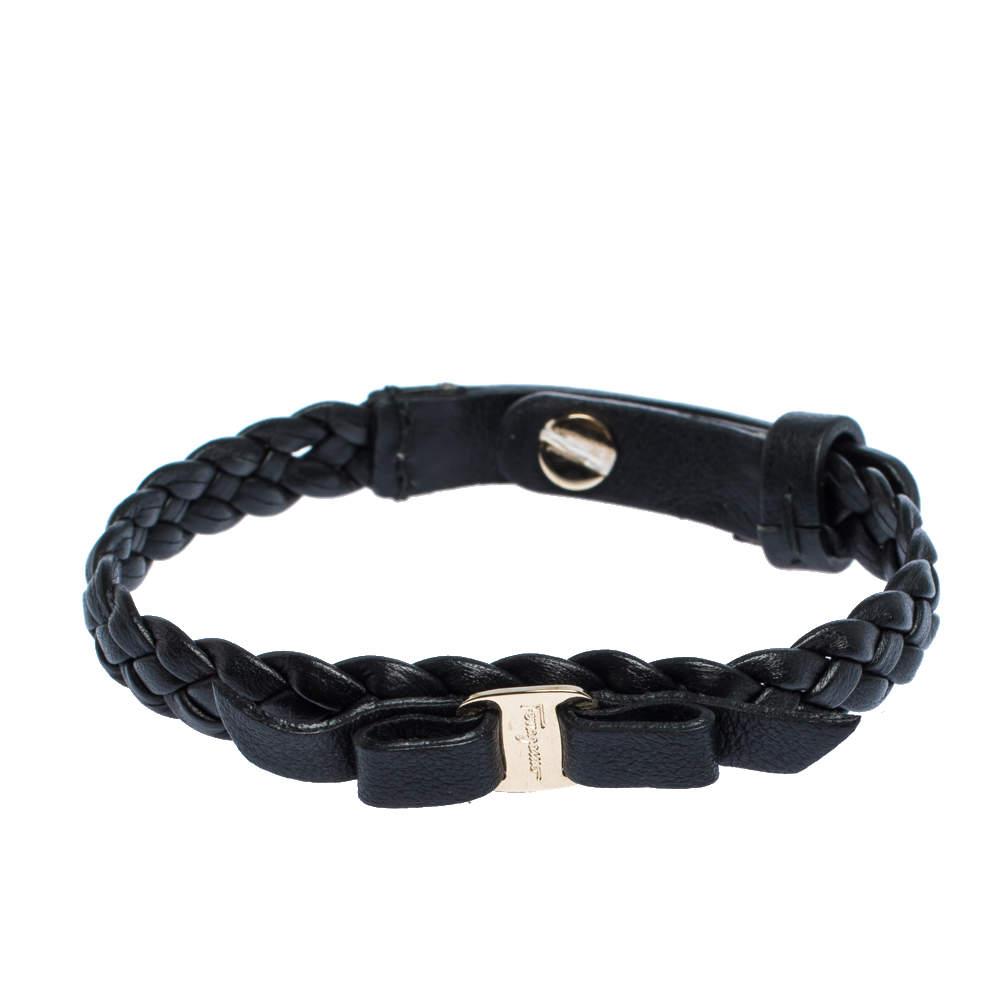 Salvatore Ferragamo Black Braided Leather Bow Bracelet