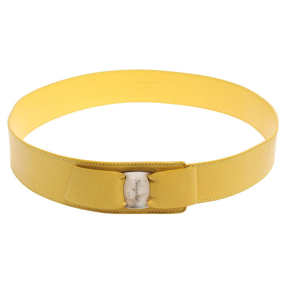 Salvatore Ferragamo Yellow Leather Vara Bow Belt 90 CM