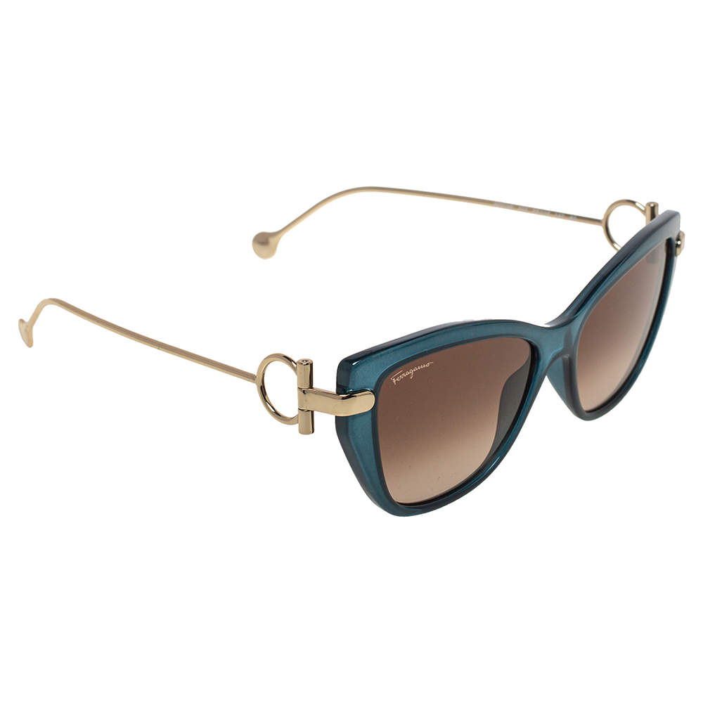 Salvatore Ferragamo Gold Tone/Brown Gradient SF928S Cat-Eye Sunglasses