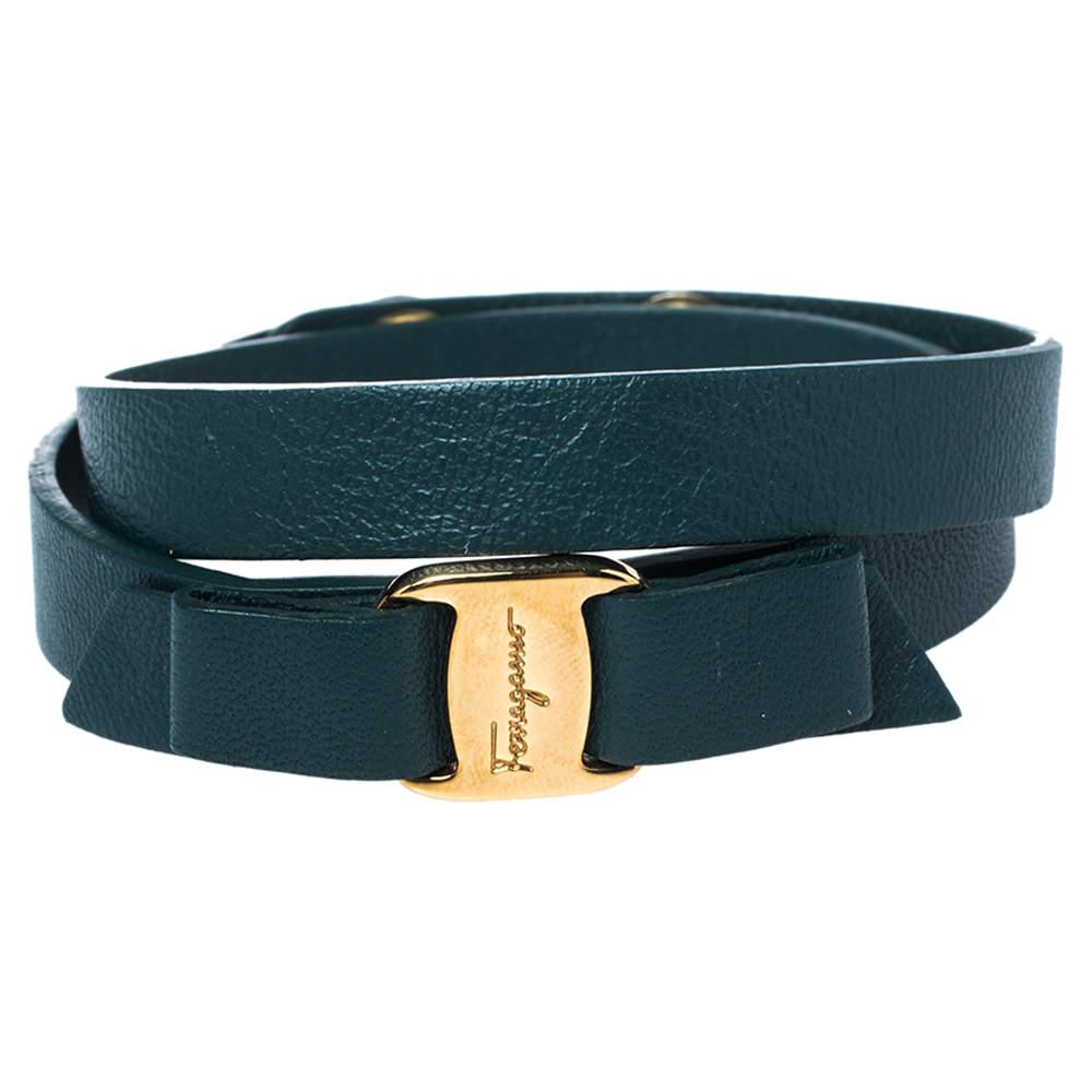 Salvatore Ferragamo Green Leather Gold Tone Vara Bow Bracelet