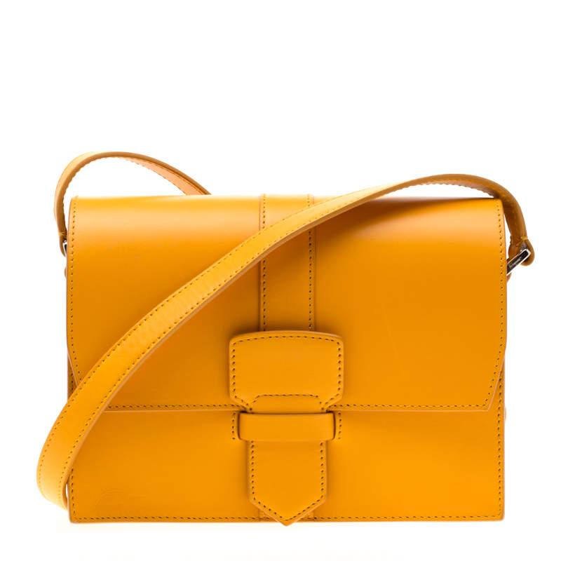 Salvatore Ferragamo Mustard Leather Altea Box Crossbody Bag