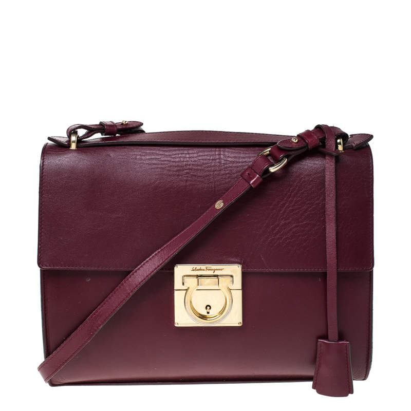 Salvatore Ferragamo Burgundy Leather Gancio Lock Shoulder Bag