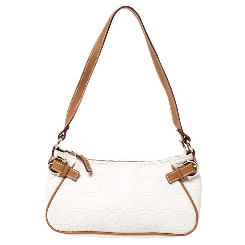 Salvatore Ferragamo Off White/Brown Gancini Embossed Leather Shoulder Bag