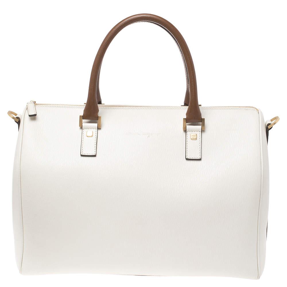 Salvatore Ferragamo White/Brown Leather Boston Bag