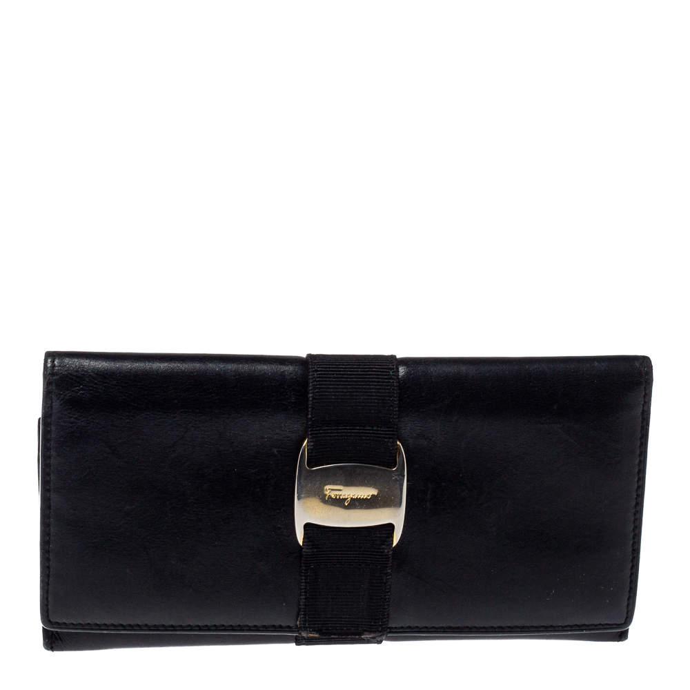 Salvatore Ferragamo Black Leather Bow Wallet