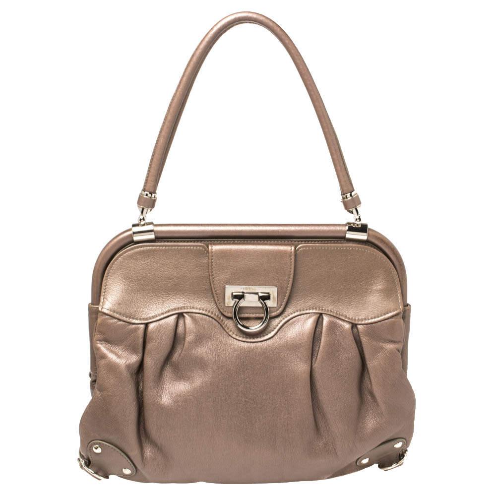 Salvatore Ferragamo Metallic Brown Leather Frame Satchel