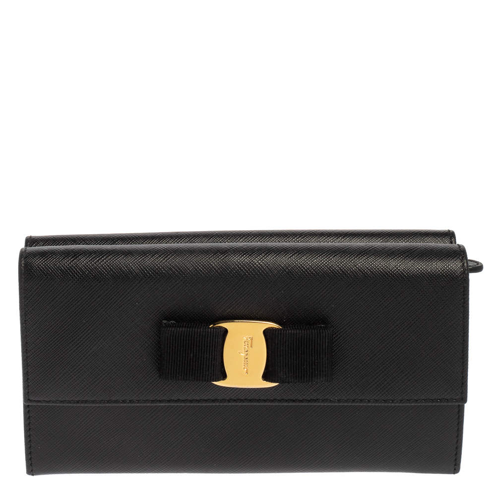 Salvatore Ferragamo Black Leather Vara Bow Double Flap Continental Wallet