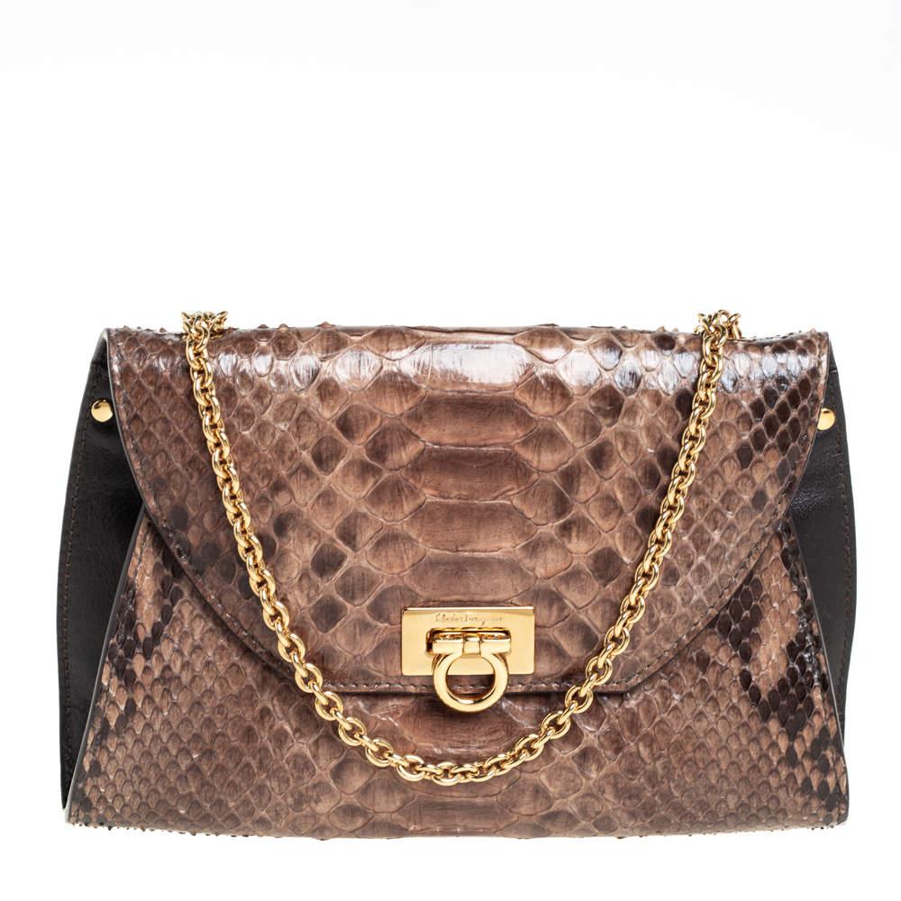 Salvatore Ferragamo Beige/Brown Python and Leather Crossbody Bag