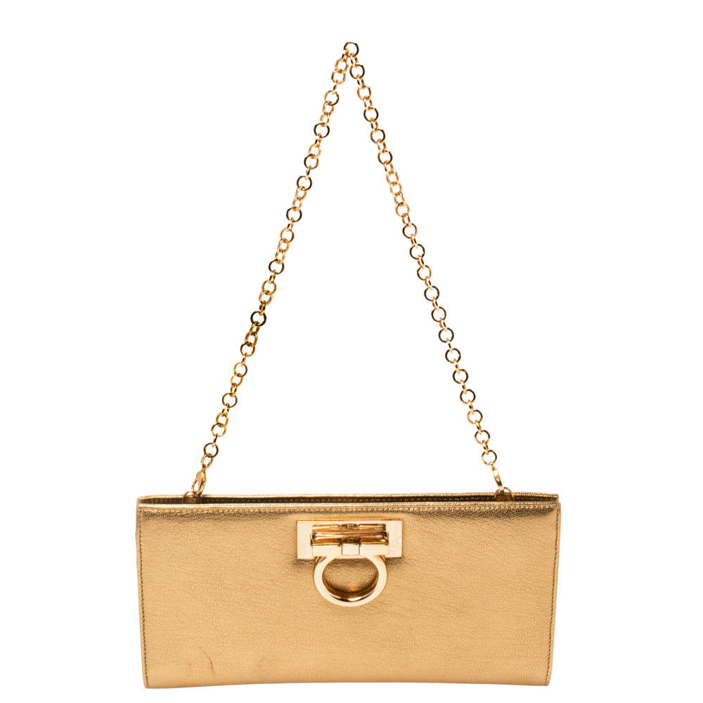 Salvatore Ferragamo Metallic Gold Leather Gancini Chain Clutch