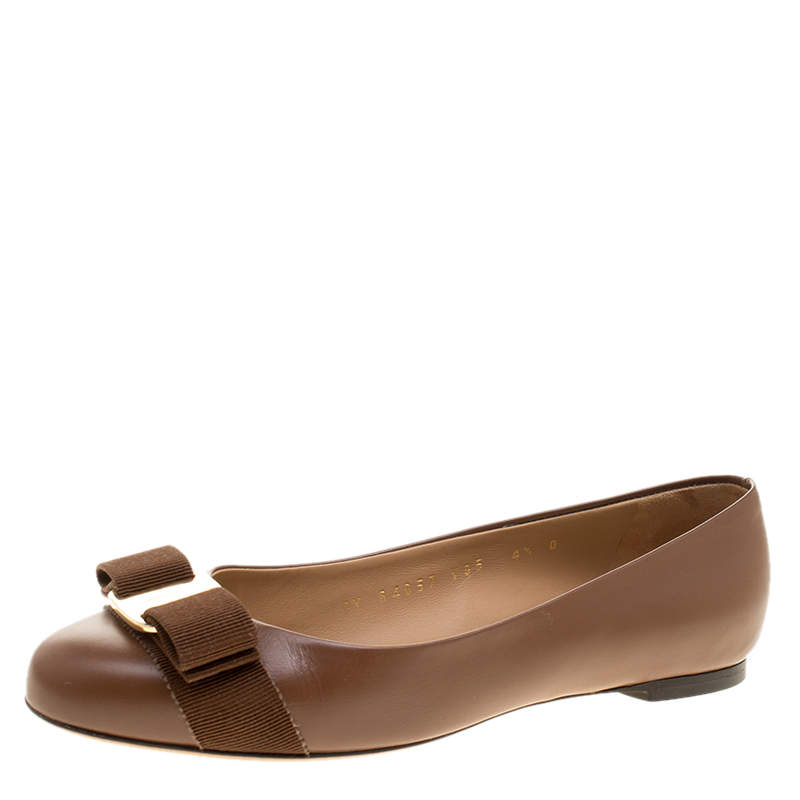 Salvatore Ferragamo Brown Leather Varina Ballet Flats Size 35