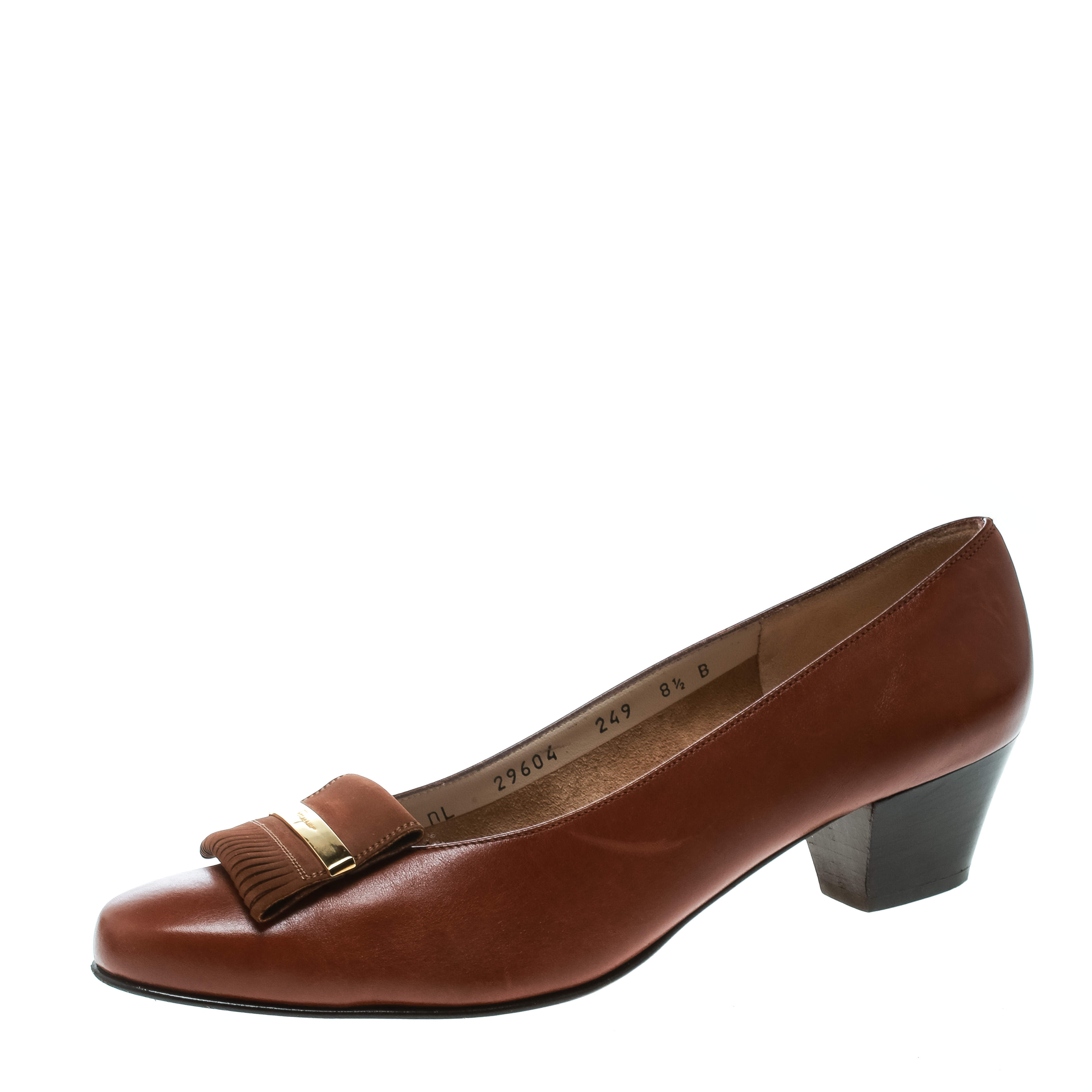 Salvatore Ferragamo Brown Leather Fringe Detail Pumps Size 39