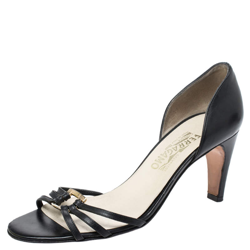 Salvatore Ferragamo Black Leather Strappy Gancini Logo Sandals Size 38.5