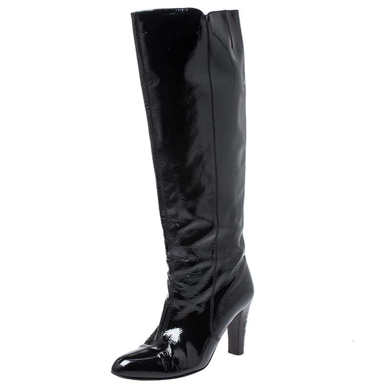 Salvatore Ferragamo Black Patent Leather Knee Length Boots Size 38