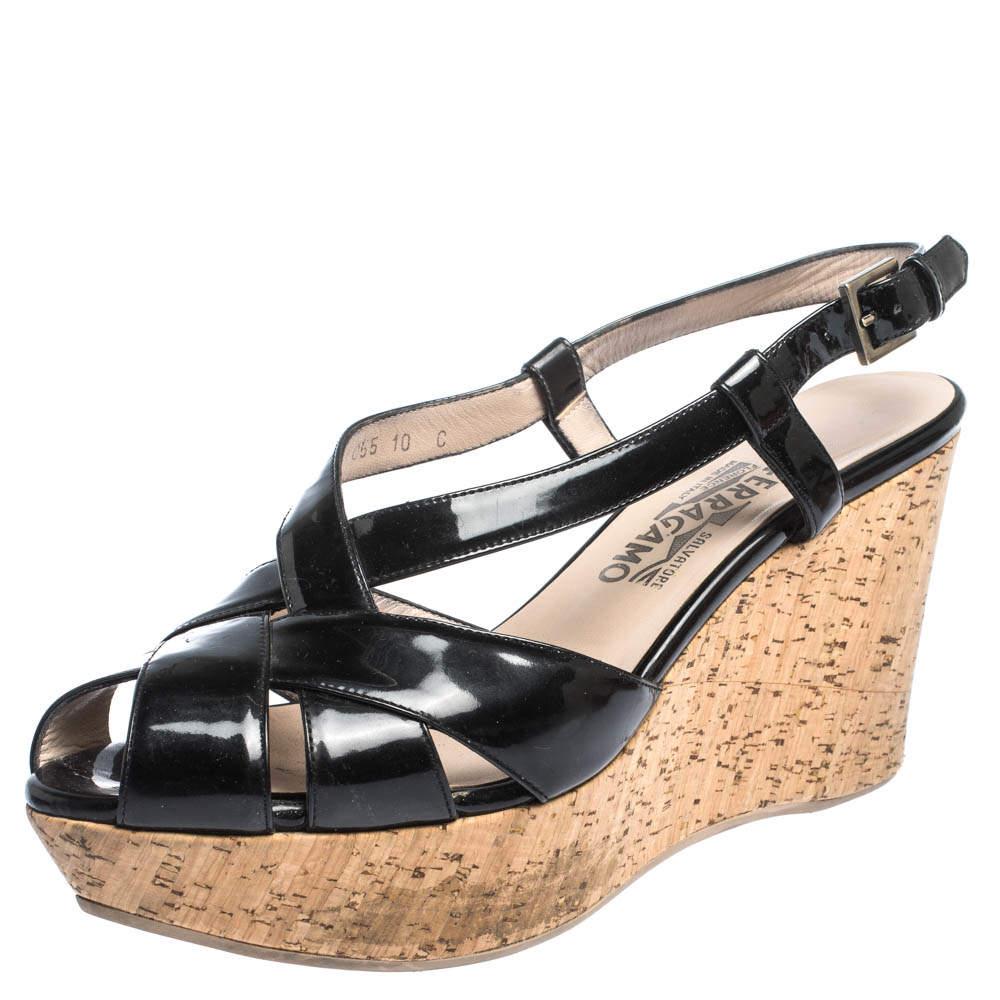 Salvatore Ferragamo Black Patent Cross Strap Cork Wedge Sandals Size 41