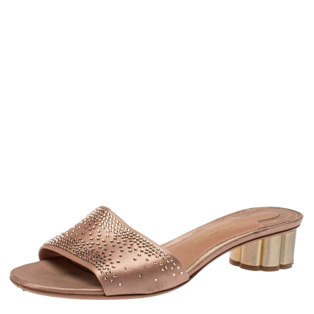 Salvatore Ferragamo Beige Satin Crystal Embellished Gorizias City Slide Sandals Size 38.5