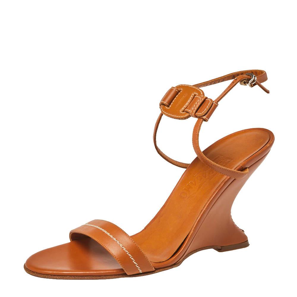 Salvatore Ferragamo Tan Leather Wedge Sandals Size 39