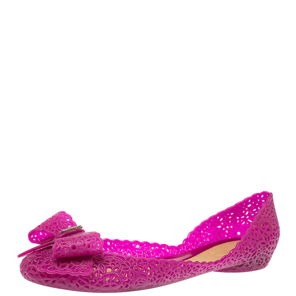 Salvatore Ferragamo Purple Nilly Jelly Bow Ballet Flats Size 38.5