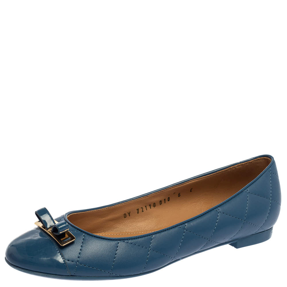 Salvatore Ferragamo Blue Quilted Leather Ballet Flats Size 36.5