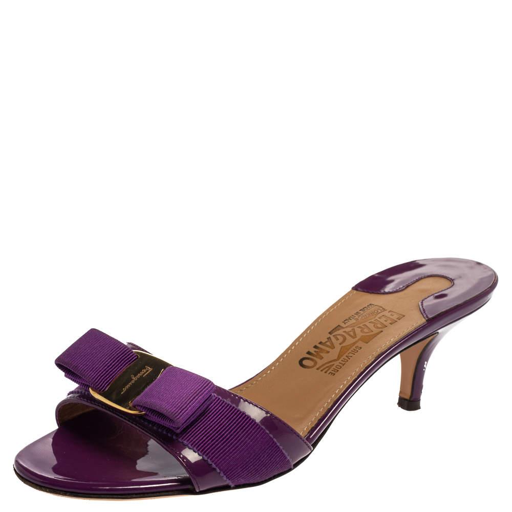 Salvatore Ferragamo Purple Patent Leather Vara Bow Slide Sandals Size 38