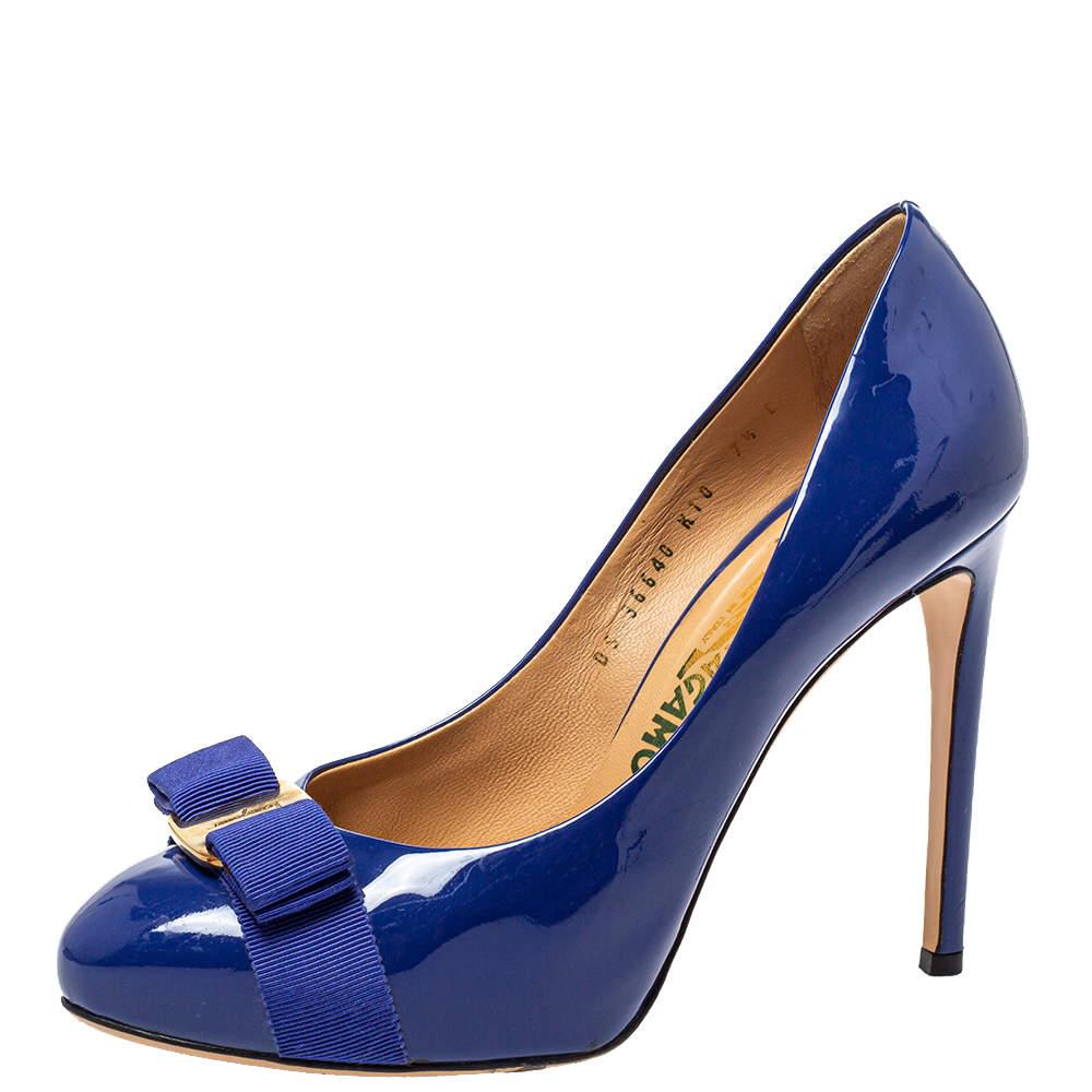 Salvatore Ferragamo Blue Patent Leather Vara Bow Platform Pumps Size 38